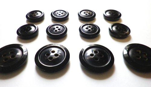 本水牛ボタン スーツ1着分セット オリジナル型 №1024 漆黒