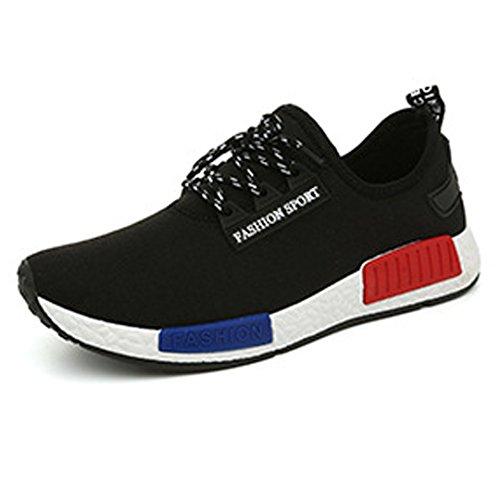 スニーカー メンズ メッシュ レースアップ カジュアル シューズ 靴 黒 ブラック 26.5cm