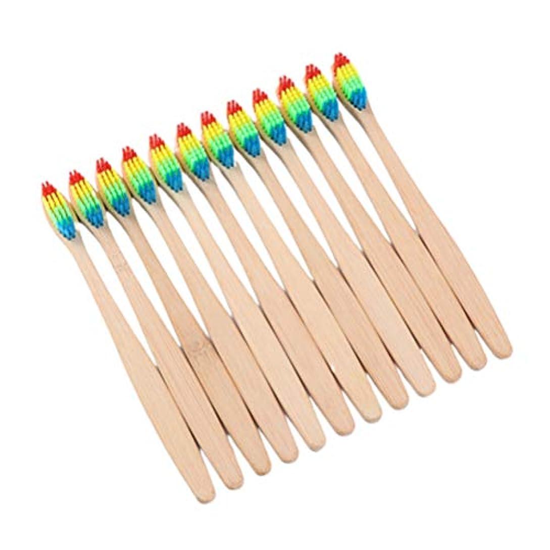 男性質量毒性TOPBATHY 10本 歯ブラシ 竹 極細 天然 ふつう やわらかめ 木製 環境にやさしい 大人 子供 兼用 旅行 トラベル 出張 携帯 虹色