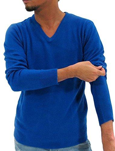 (マルカワジーンズパワージーンズバリュー) Marukawa JEANS POWER JEANS VALUE ニット セーター メンズ Vネック カシミアタッチ 無地 秋 冬 6color M ロイヤルブルー