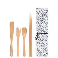 木の箸スプーンフォークはキャンプ、ピクニック、オフィスまたは家のための袋が付いている和風食器旅行道具を設定します 小花布袋