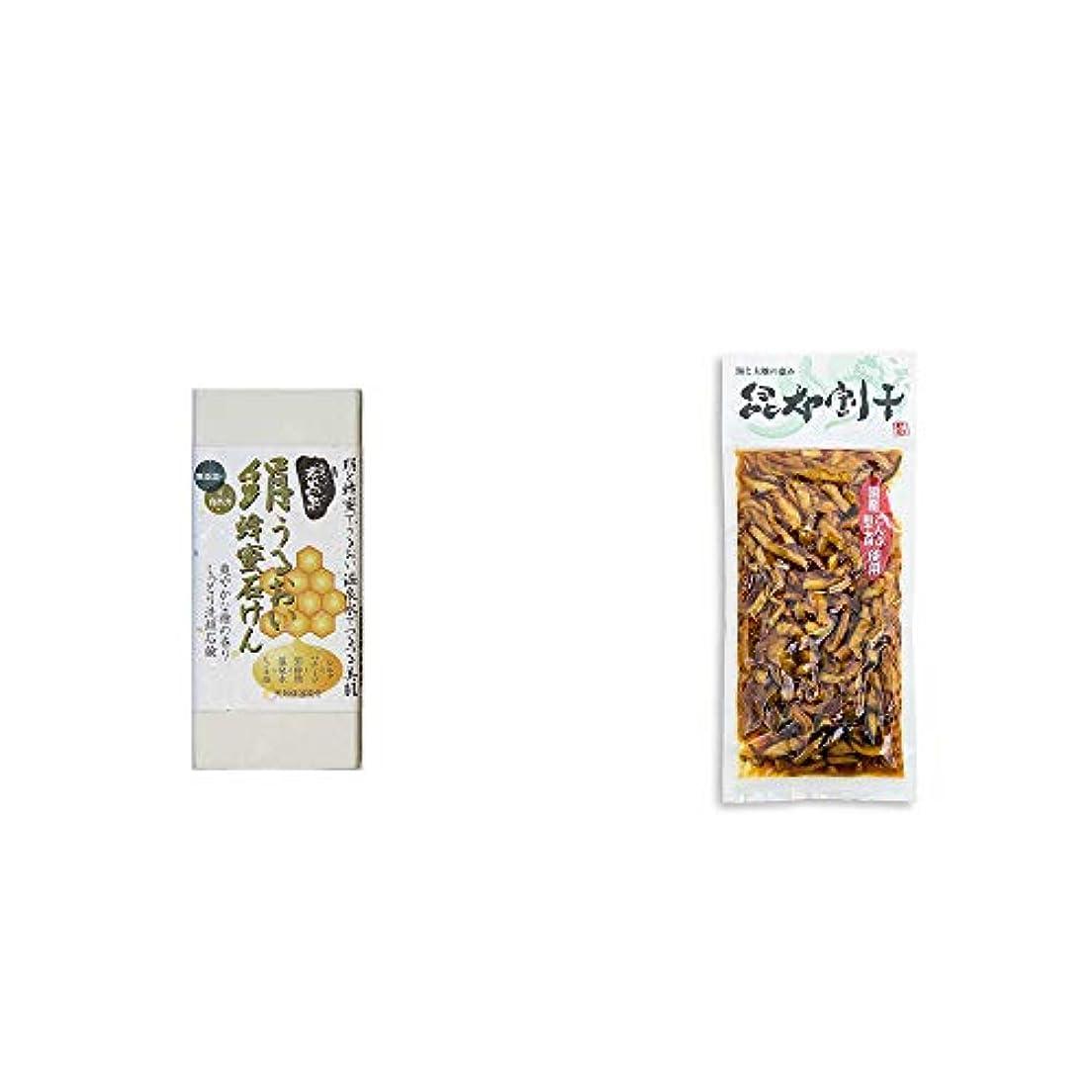 靴下収束エキゾチック[2点セット] ひのき炭黒泉 絹うるおい蜂蜜石けん(75g×2)?海と大地の恵み 昆布割干(250g)