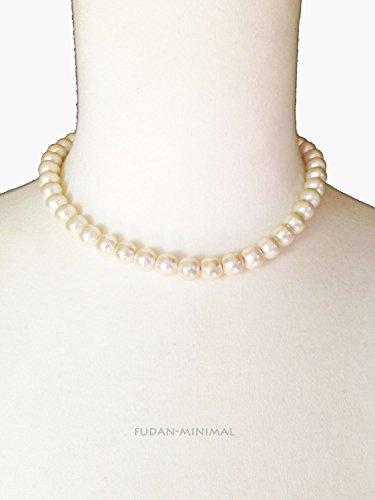 [해외][fudan-minimal] 코튼 진주 목걸이 스카 초커 35cm/[fudan-minimal] Cotton Pearl Necklace Kiska Choker 35cm