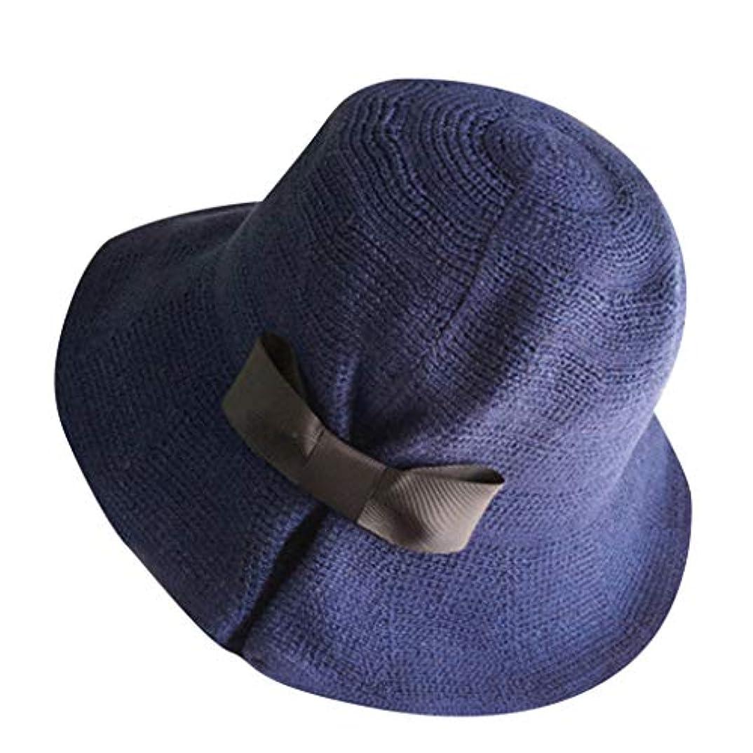 タバコ看板酔って帽子 ハット 女性広いわらの折り畳み式旅行弓日曜日の帽子の夏のビーチキャップ