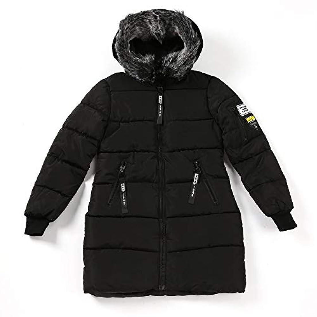 ロゴ船員憲法韓国スタイルの女性のコートファッションオールマッチフード付きダウンジャケット綿パッド入り厚く暖かいコートミドルロング冬生き抜くコート-ブラックM