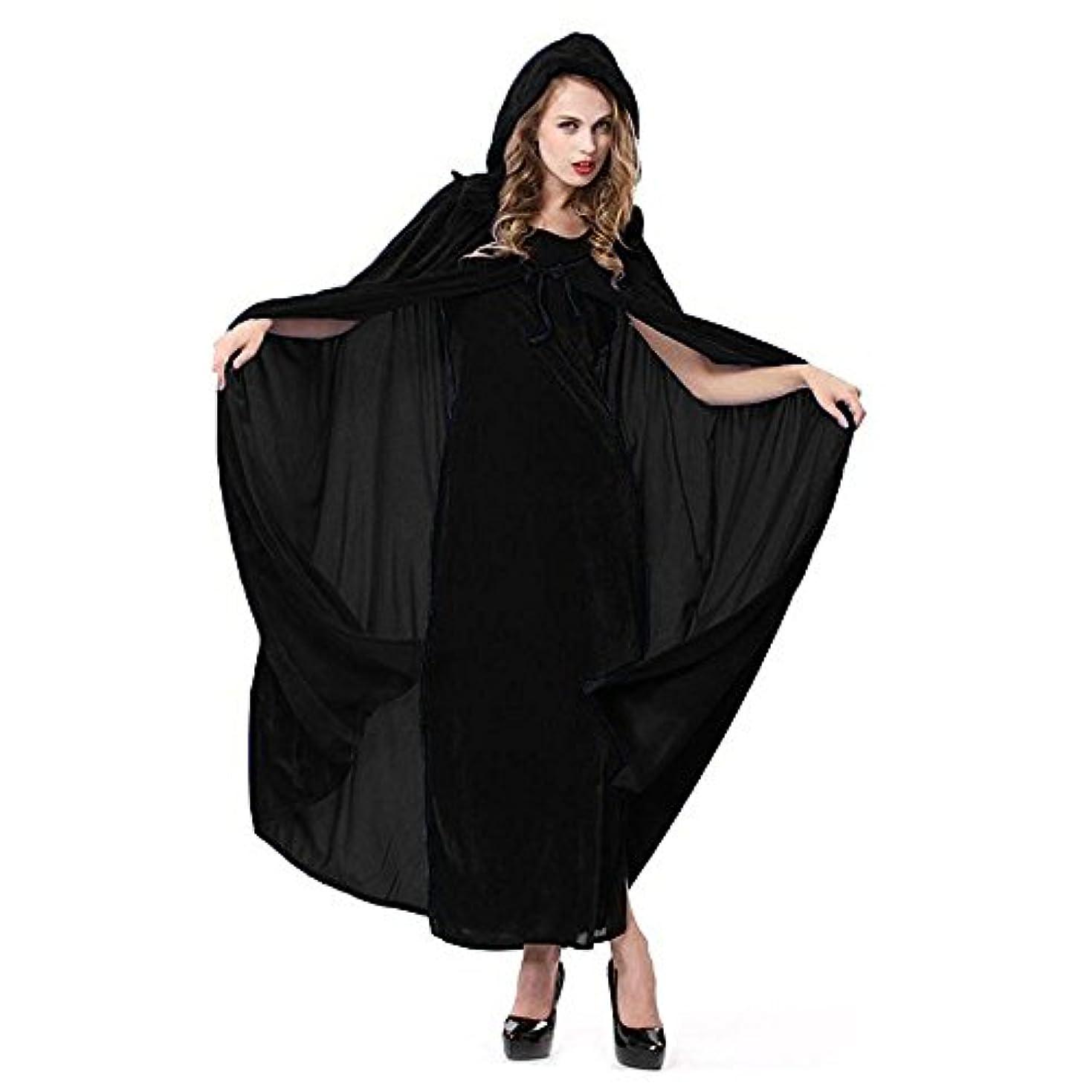耐久緊張する変える【ハピクリ】 魔女 仮装用 コスチューム マント 色が選べる フード付き フリーサイズ ベルベット調 ハロウィン (黒 ブラック)