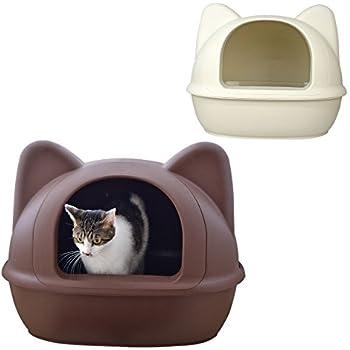 70d7b9bdea iCat アイキャット オリジナル 大きなネコ型トイレット スコップ付 マットブラウン 猫 トイレ