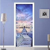 Xbwy 現代の3Dブルースカイシービューウッドブリッジドアステッカーリビングルームの寝室の写真壁壁画防水ビニール壁紙3D-150X120Cm