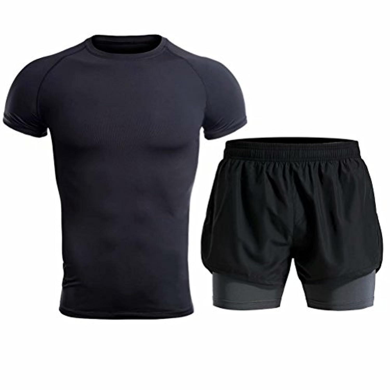 Kayiyasuジャージ上下セット メンズ Tシャツ トレーニングウエア 半袖 ショートパンツ ジム セットアップ フィットネス 練習着 吸汗速乾 043-sgt-l04(L ブラック)