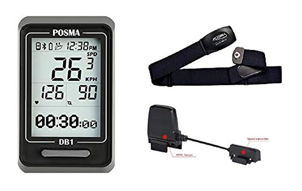 重々しい保護輪郭POSMA DB1サイクリングコンピューター BCB30スピードとケイデンスセンサー BHR20心拍計 DB1 Bluetooth Cycling Bike Computer Dual mode BCB30 Speed Cadence Sensor BHR20 Heart Rate Monitor Value Kit - Speedometer Odometer, Support GPS by Smartphone iPhone