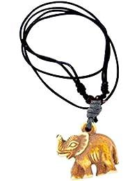 調節可能なブラックMarinersコードネックレスwith Tribal Elephantペンダント