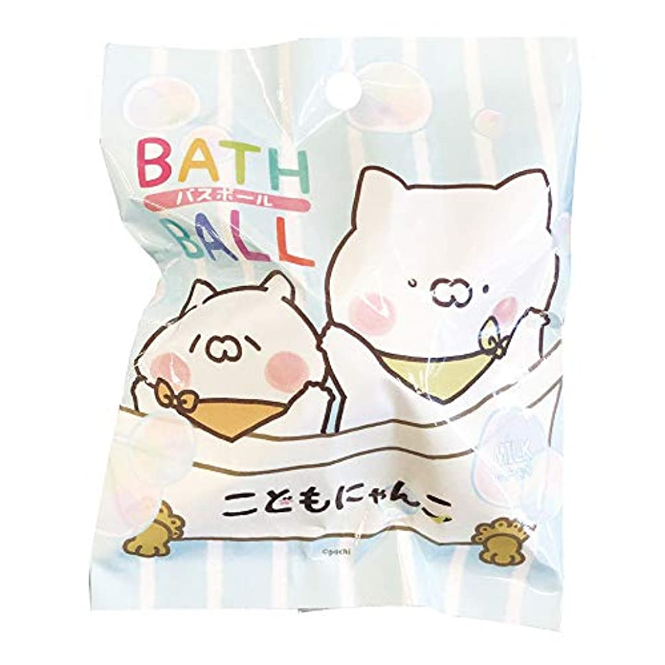 名門ハーフ反発こどもにゃんこ 入浴剤 バスボール おまけ付き ミルクの香り 50g ABD-043-001