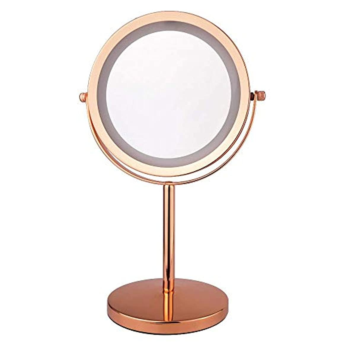 発送午後忌まわしい化粧鏡 5倍 拡大鏡 付き led ミラー LED 両面 鏡 卓上 スタンドミラー メイク 360度回転スタンドミラー