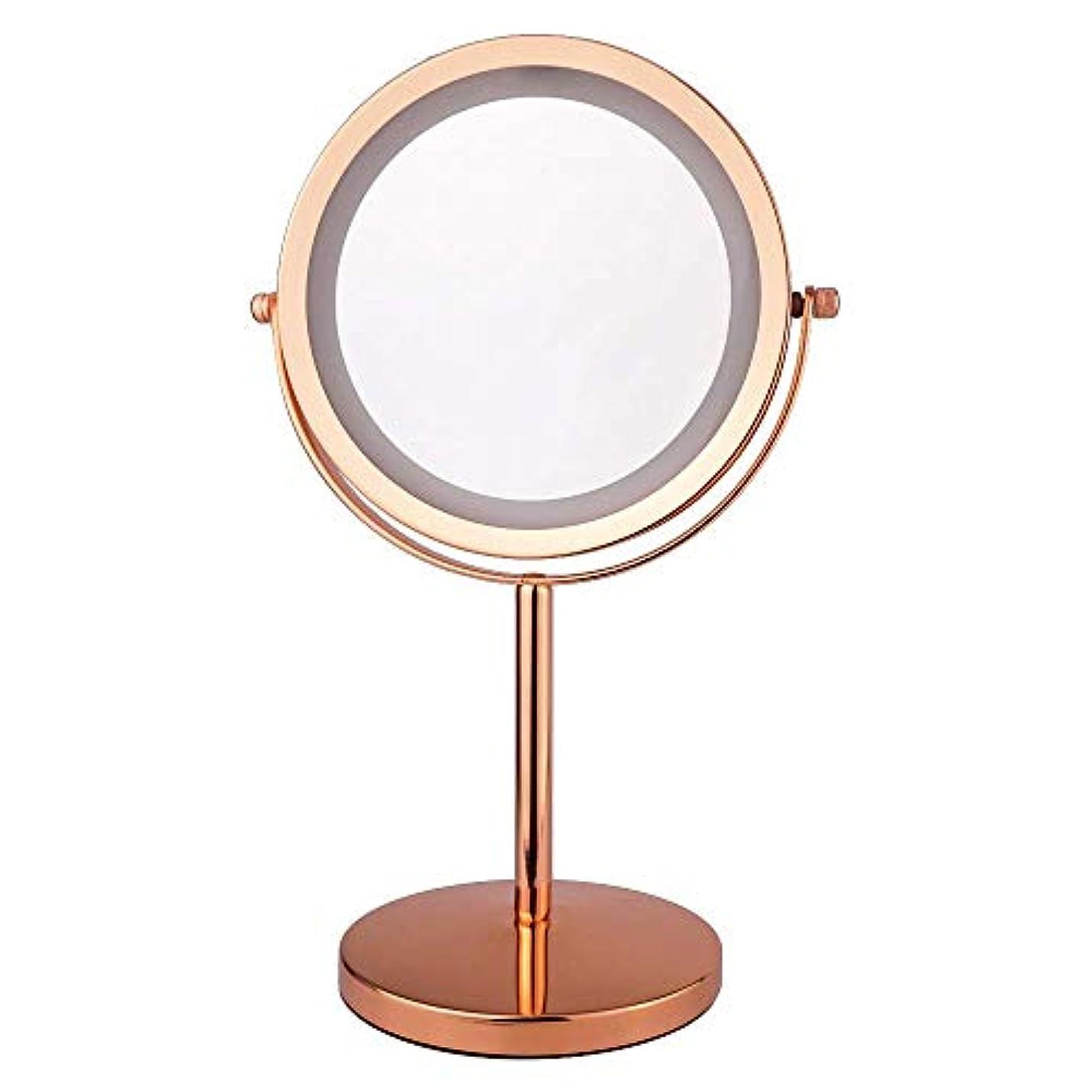 リークゆるい長さ化粧鏡 5倍 拡大鏡 付き led ミラー LED 両面 鏡 卓上 スタンドミラー メイク 360度回転スタンドミラー