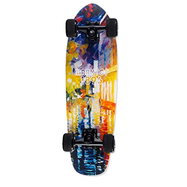 もみじボード初心者ミニスクーター小魚ゴムスケートボードキッズスケートボード (色 : ブラック)