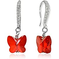 Sterling Silver Butterfly Dangle Earrings Made with Swarovski Crystals for Women Girls