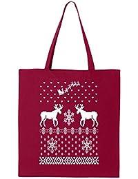 shop4ever Merry ChristmasトナカイLargeトートバッグクロスステッチ再利用可能なショッピングバッグ6オンスコットンキャンバス 6 oz レッド S4E_1215_MerryRenLrg_TB_8502...