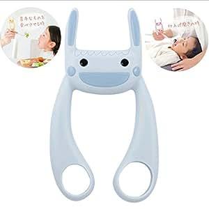 (ヘルプマイマム)HELPMYMOM サポうさ イヤイヤ期 仕上げ磨き 離乳食 育児の補助に。 (グレイッシュブルー)
