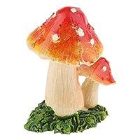 マイクロ風景置物 キノコ 家の妖精 庭 工芸品 装飾 テラリウム - オレンジレッドA
