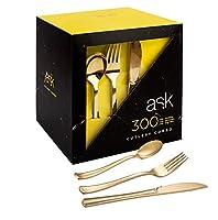 300プラスチック銀食器セット 使い捨て食器セット プラスチックフォーク100本 スプーン100本 ナイフ100本 パーティー用高耐久銀食器類 ゴールド ACS021