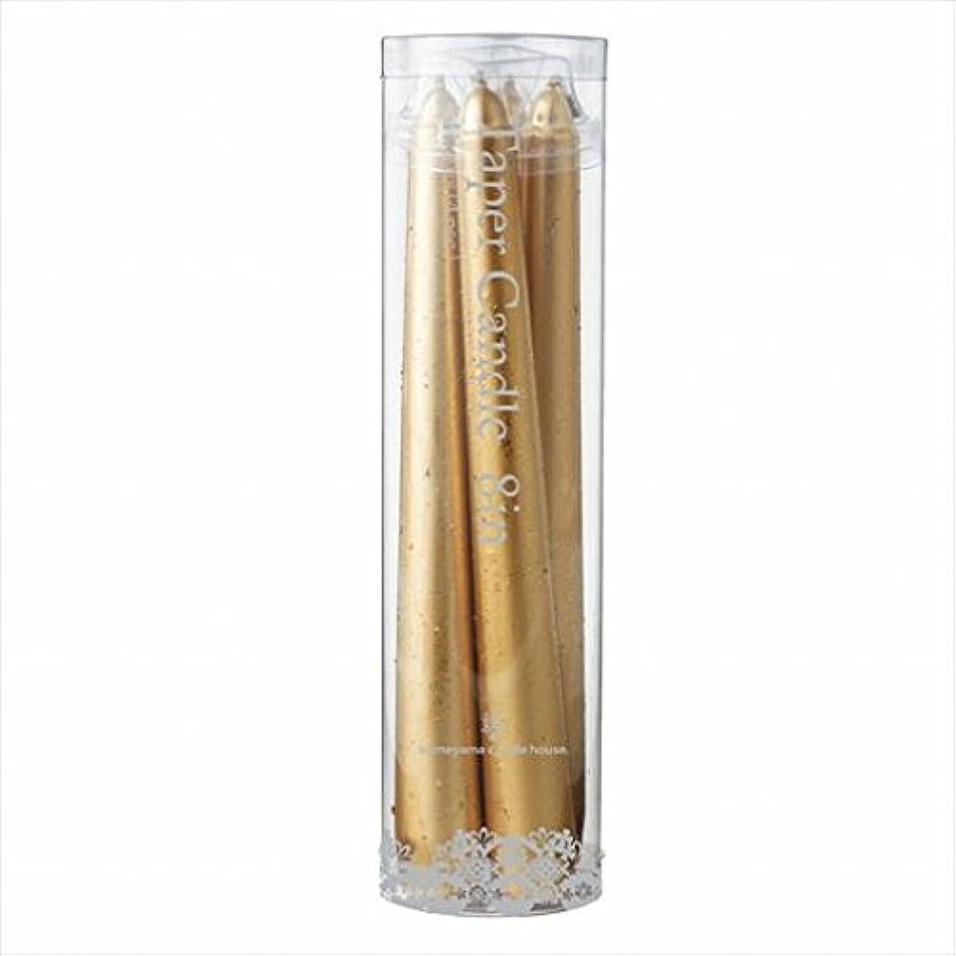 操作可能臭い圧倒するカメヤマキャンドル(kameyama candle) 8インチテーパー4本入り 「 ゴールド 」×6