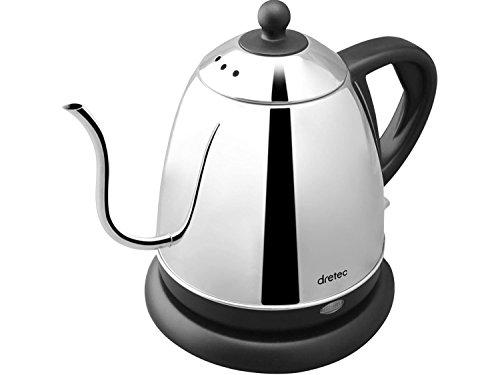 dretec(ドリテック) 電気ケトル ステンレス コーヒー ドリップ ポット 細口 湯沸かし 0.8L PO-143BK(ブラック)