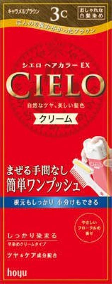 複合カバレッジ鼻ホーユー シエロ ヘアカラーEX クリーム3C (キャラメルブラウン)×27点セット (4987205284670)