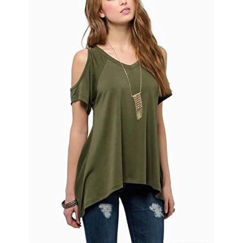 (シャンディニー) Chandeny オフショルダー Tシャツ 裾フレア レディース Aライン Vネック 半袖 トップス 16012 アーミーグリーン XL サイズ