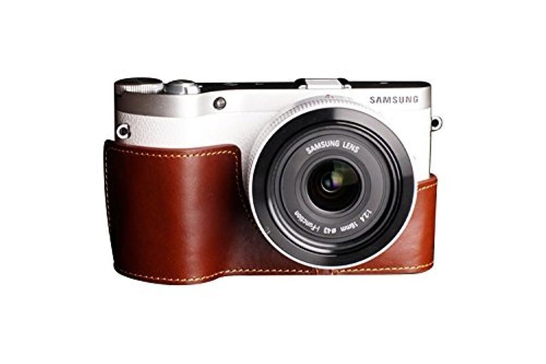 襲撃優しい決済サムスン NX300用本革カメラケース ブラウン