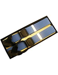 (ブレイス)Brace 6ボタン止め サスペンダー メンズ 紳士 英国 AZ LightBlue/BlackLeatherend B375