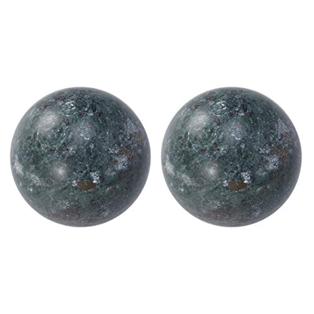 ラッシュ姿を消す爪HEALIFTY 2個の自然の翡翠手球ダークグレー中国の健康運動ボーイングボール老人のためのストレスリリーフ(黒)