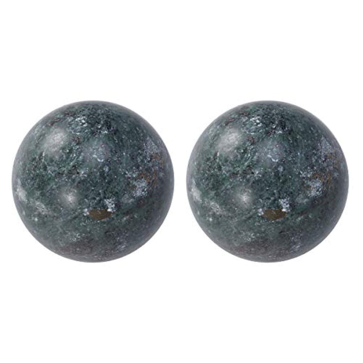 八寛大さ切断するHEALIFTY 2個の自然の翡翠手球ダークグレー中国の健康運動ボーイングボール老人のためのストレスリリーフ(黒)