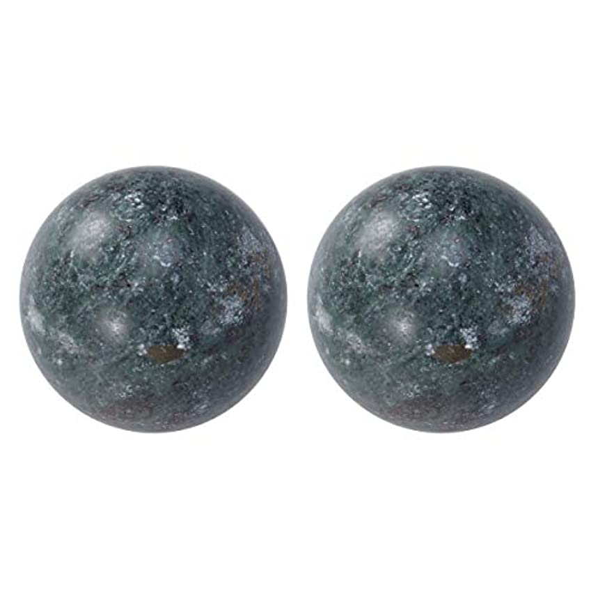 HEALIFTY 2個の自然の翡翠手球ダークグレー中国の健康運動ボーイングボール老人のためのストレスリリーフ(黒)