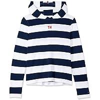 Tommy Hilfiger Kids Stripe Hooded T-Shirt, Bright White/Black Iris