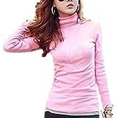 (ラルジュアルブル) largearbre タートルネック タートル トップス カットソー Tシャツ 長袖 インナー あったかい シンプル カジュアル シャツ ゆったり セクシー 大きいサイズ ロンT 大人 黒 白 ピンク グリーン タイト 細身 スタイル スリム 可愛い オシャレ キレイメ エレガント お姉 デザイン 無地 tシャツ (XL, ピンク)