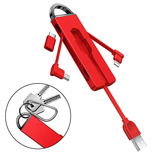 3in1 充電ケーブル Micro usb ケーブル/Type c/iOS usb 短い充電ケーブル ios用 タイプcアンドロイド スマホ充電コード ケーブル キーリング 断線防止(レッド)
