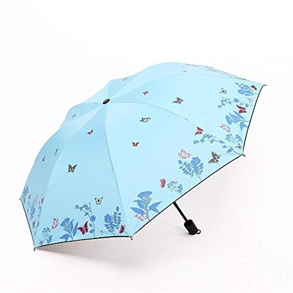 お誕生日月曜日ハイキングHEJIANLSTORE バタフライプリント折りたたみ傘のバロメーターデュアルUV日焼け止めビニール傘 (Color : Blue)
