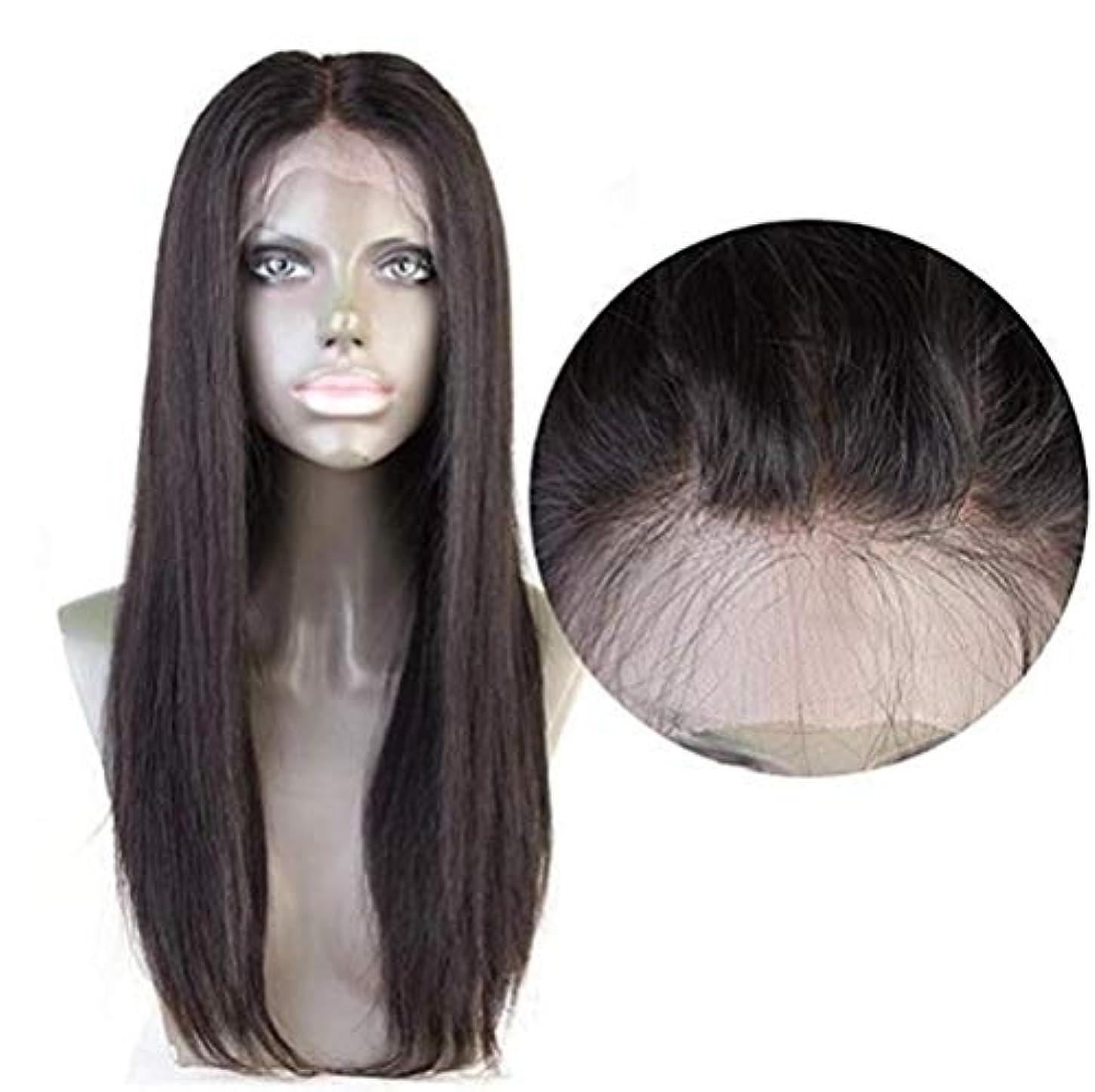 ダメージ暗記する未払い女性ストレートヘア4×4レース前頭かつらブラジルバージン人間の髪赤ちゃんの髪自然な色で