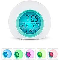 幼児時計、MFEI LEDマルチアラーム大人、子供、幼児、幼児のためのマルチカラフルなナイトライトとデジタルサンライズ目覚まし時計 (青)