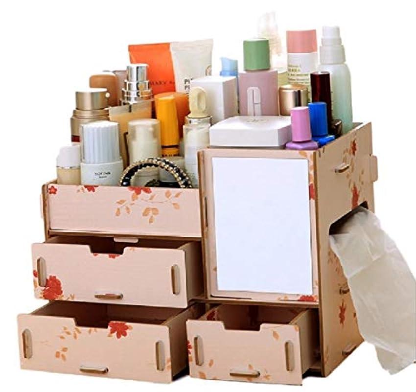 (ミウォルナ) Miwoluna 化粧品 コスメ ジュエリー 収納 ボックス スタンド メイクボックス 木製 組み立て式 (鏡付き 花)