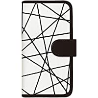 CaseMarket 手帳型 ケース レザー 厚手タイプ docomo AQUOS PHONE EX (SH-02F) 北欧 モダン モノトーン リンヤ Black 2111