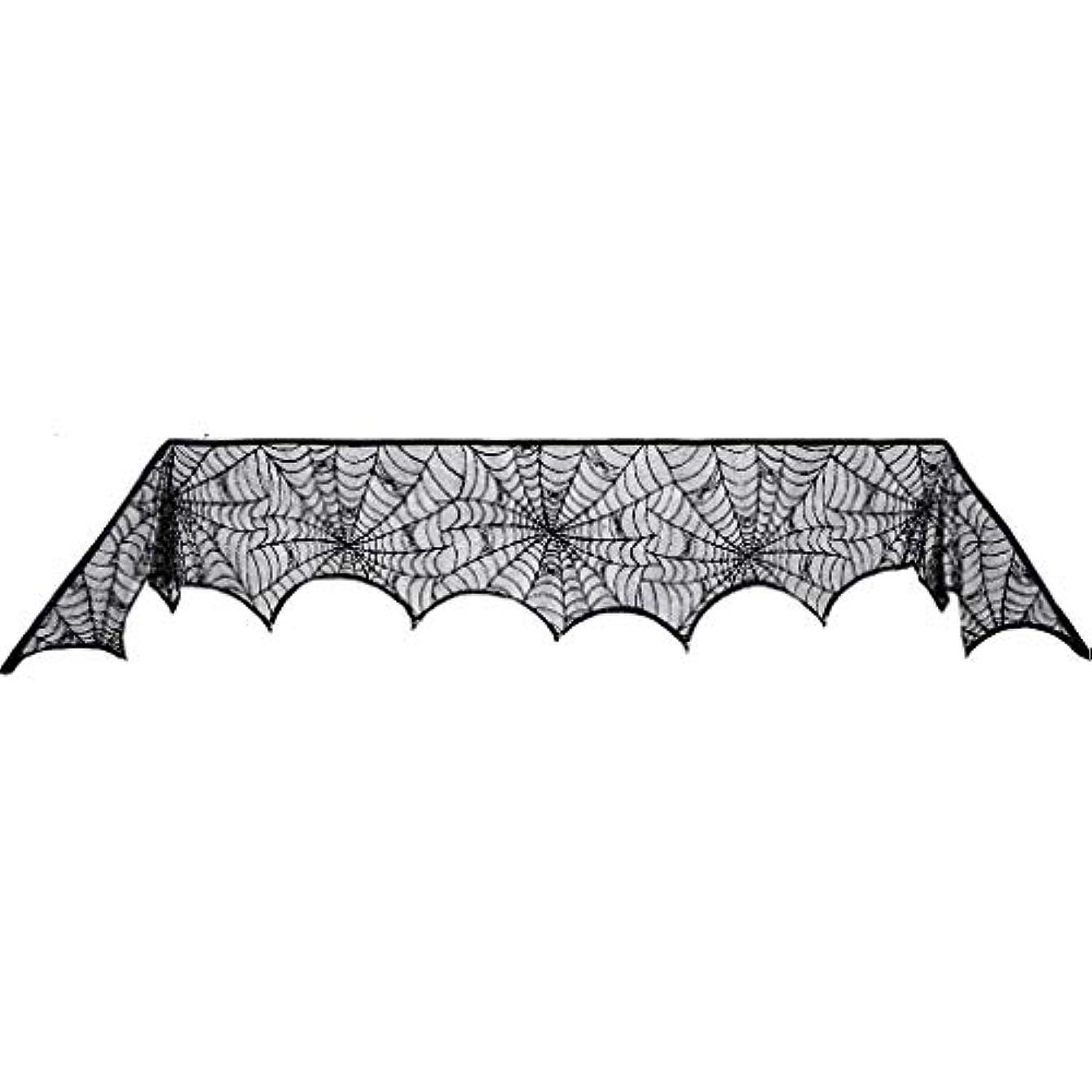 羽泥だらけ膨らませるハロウィンの黒いレースのクモの巣の暖炉のマントルスカーフカバー、ハロウィンの小道具の装飾
