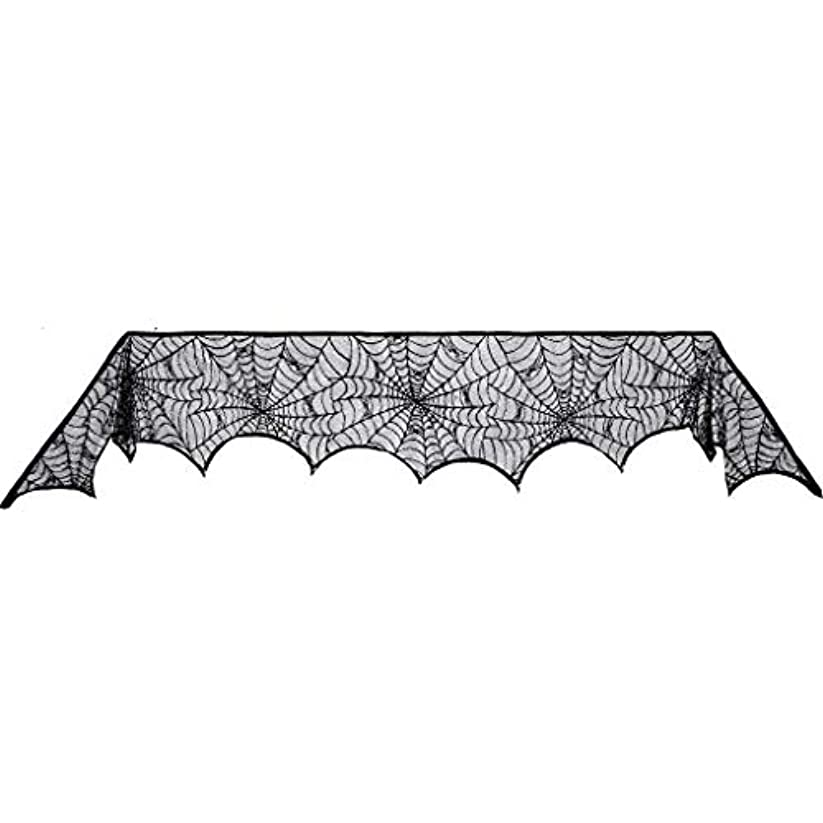 ハシー別れるハロウィンの黒いレースのクモの巣の暖炉のマントルスカーフカバー、ハロウィンの小道具の装飾