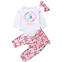 3PCS Baby Girl Outfit Clothes Litter Sister Romper Bodysuits Floral Pants+Headband Outfit Set (12-18 Months, Pink White)
