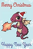 Merry Christmas Happy New Year: Chibi Kawaii Fire Breathing Dragon Wearing a Red Santa Hat with Snow Notebook Cover. Great Journal Gift or Stocking Stuffer for the Holidays