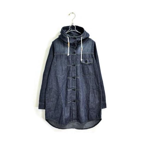[アンドイット] and it_ ライトデニムスタンドネックフードロングシャツ コート M L サイズ 173ネイビー L