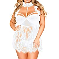 Ausexy Women Sexy Eyelash Lace Ruffled High Neck Lingerie Set with G-String Plus Size See-Though Babydoll Nightdress Sleepwear