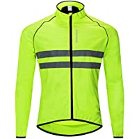 WOSAWE Men's High Visibility Cycling Wind Jacket Water Resistance Reflective Windbreaker