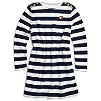 Tommy Hilfiger Adaptive Girls 7183959 Long Sleeve Dress Striped with Magnetic Buttons at Shoulders Long Sleeve Casual Dress - Blue