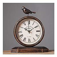 ヨーロッパのデスク時計レトロなリビングルームのデスクトップ装飾時計ホームベッドルーム研究室ミュートテーブル時計バッテリー駆動のクォーツ時計 (Color : B, Size : 23cm*29cm)